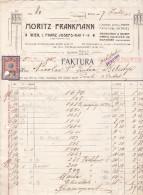 MORITZ FRANKMANN.FABRIK WOLLENER FANTASIE-ARTIKEL,1911,FAKTURA WIEN AUSTRIA. - Autriche