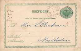 SCHWEDEN 1887 - Fem Öre Ganzsache Auf Pk Gelaufen