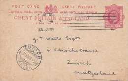 GREAT BRITAIN & IRELAND 1909 - 1 Penny Ganzsache Auf Pk Von Hampton > Zürich