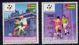 Série De 2 TP PA Neufs ** N° 659/660(Yvert) Togo 1989 - Coupe Du Monde Football Italia 90 - Togo (1960-...)