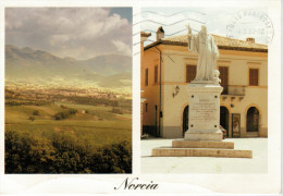 NORCIA   PANORAMA   MONUMENTO A S. BENEDETTO   MAXI-CARD  (VIAGGIATA) - Perugia