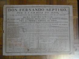 CARTEL TAURINO DON FERNANDO SEPTIMO CORRIDA EN MADRID Ca. 1820 COLECCION CONDE DE COLOMBI - Afiches