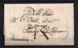 1844 BAYONNE, CARTA COMPLETA CIRCULADA ENTRE BAYONA Y ARROYO DEL PUERCO, MARCA P.P., PORTEO 7 RS. - 1801-1848: Precursores XIX