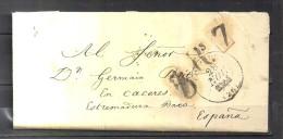 1844 LOUVIERS, CARTA COMPLETA CIRCULADA ENTRE LOUVIERS Y CÁCERES, MARCA P.P., PORTEO, TRÁNSITOS - 1801-1848: Precursores XIX