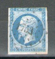 N°14° Type II_Bleu Pétrole Vif_PC 1753 = LONGJUMEAU_L6/10 Cote 25.00_Pli - 1853-1860 Napoléon III