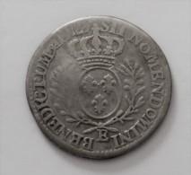 TRES RARE LOUIS XV 1/5 D ECU AU BRANCHES D OLIVIER  1727 E ARGENT POIDS 5.4 GR - 987-1789 Monete Reali