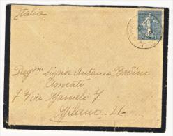 1922 - Semeuse 50 C. Bleu Gris (voir La Description). - Storia Postale