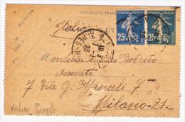 1923 - Carte Lettre Semeuse 25 C. Plus Tampon Double Semeuse 25 C. (voir La Description). - Storia Postale