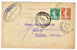 1923 - Carte Postal Semeuse 20 C. + 10 C. Vert Semeuse (voir La Description). - Storia Postale