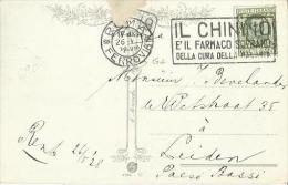 C0375-CARTOLINA PER L'OLANDA CON 25 CENT. FLOREALE 26.5.1928 - ANNULLO IL CHININO - 1900-44 Vittorio Emanuele III