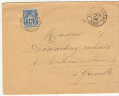 """Isère : 15c Sage O.  Le Bourg D´Oisans 1893 , Boîte Rurale """"D"""" = Venosc (Mairie) /(2 Scans) - Postmark Collection (Covers)"""