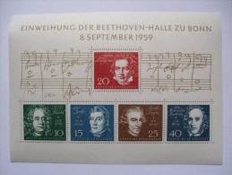 GERMANY 1959 BEETHOVEN MINIATURE SHEET MNH