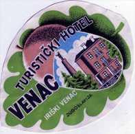 ANCIENNE ETIQUETTE HOTEL TURISTICKI HOTEL VENAC IRISKI VENAC SERBIE YOUGOSLAVIE VINTAGE LABELS LUGGAGE HOTELS - Hotel Labels