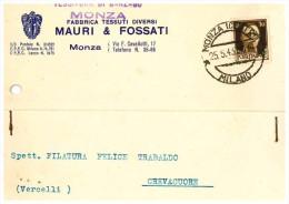 CARTOLINA COMMERCIALE - MONZA - DITTA MAURI & FOSSATI - Monza