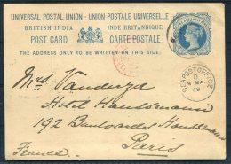 1889 India France QV Stationery - Hotel Haussmann Paris Via Sea Post Office - 1882-1901 Imperio