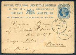 1886 India Mangalore QV Stationery Via Sea Post Office Bombay -  Rome Roma Italy - 1882-1901 Imperio