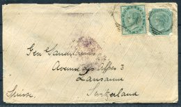1887 India Mixed Franking Cover Via Sea Post Office, Bombay, Brindisi, Ambulant Railway - Lausanne Switzerland Suisse - 1882-1901 Imperio