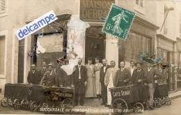 CARTE PHOTO RARE -  MAISON  DEBRAY - Spécialité De Café - Succursale De FONTENAY - LE - COMTE - 30 Aout 1908. - Fontenay Le Comte