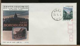 Republic KOREA  -  FDC  -  BOROBUDOR  TEMPLE  IN  JAVA  -  Tempio Buddista Alto 31,5 Metri - BUDDHIST TEMPLE - Buddismo