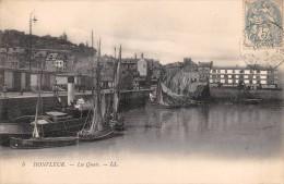 """01444 """"HONFLEUR - LES QUAIS - LL.""""  ANIMATA. BARCHE. CART. POST. SPEDITA 1910 - Honfleur"""