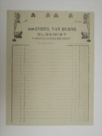 Facture Invoice Cyriel Van Durme Bloemist Mariakerke Gent Gant Blanco Brief Ca.1920 - Droguerie & Parfumerie