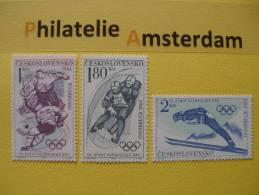 Czechoslovakia 1964, OLYMPICS INNSBRUCK / HOCKEY RODELN SKI: Mi 1447-49, ** - Winter 1964: Innsbruck