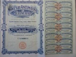 MINES D´ANTIMOINE De MERINCHAL (CREUSE). Action De Cent Francs (1906) - Actions & Titres