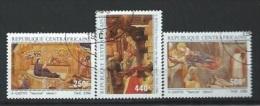 """Centrafrique : Y&T(o) PA 350 à 352NOEL """" Tableaux De Giotto Et Botticelli ,"""" - Christmas"""