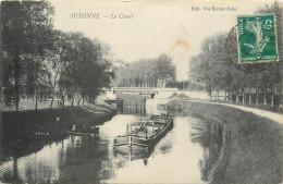 21 AUXONNE  Le Canal Péniche     2 Scans - Auxonne
