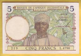 BANQUE DE L´ AFRIQUE OCCIDENTALE - 5 Francs. Valeur Bleu Foncé - - Banconote