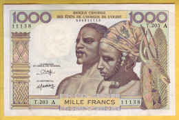 BANQUE DE L´ AFRIQUE DE L´OUEST - Côte D´Ivoire - Billet De 1000 Francs. ND. 1980 - Côte D'Ivoire