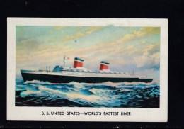 AK United States Line : S.S. UNITED STATES Karte Gebr. - Dampfer