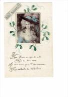 Carte Fantaisie - Femme - Mode Robe Chapeau - Décor Peint 1917 - - Mujeres