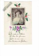 Carte Fantaisie - Femme - Mode Robe épaules Nues - Décor Peint 1917 - - Mujeres