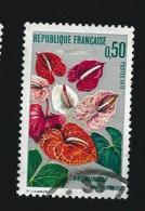 N° 1738 Anthurium - Martinique  1973 Oblitéré Timbre France Variété Trace D'essuyage Dans Le Gris - Curiosidades: 1970-79 Usados