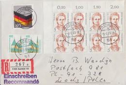 Bund R-Brief Mif Minr.1265,8x 1405 OER, 1406 Waager. Paar Aachen 9.2.89 Gel. Polen Postkrieg - BRD