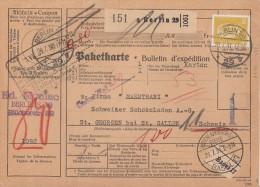 DR Paketkarte EF Minr.437 Berlin 20.7.31 Gel. In Schweiz - Deutschland