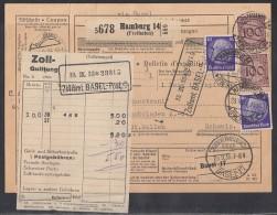 DR Paketkarte Mif Minr.2x 343,2x 472 Hamburg 23.9.33 Gel. In Schweiz - Deutschland