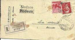 C0517-RACCOMANDATA CON DEMOCRATICA 80 CENT. + 2 L. LUOG. - 1944-46 Lieutenance & Humbert II
