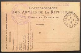Cachet 1er Régiment Spécial Armée Russe En France Sur Carte De Franchise Militaire 1916 Oblitérée Trésor Et Postes 189 - Postmark Collection (Covers)