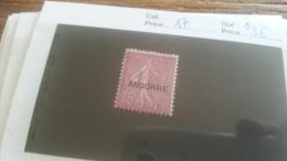 LOT 254956 TIMBRE DE ANDORRE NEUF* N�17 VALEUR 36 EUROS