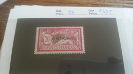 LOT 254961 TIMBRE DE ANDORRE NEUF* N�23 VALEUR 435 EUROS