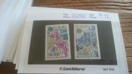 LOT 255013 TIMBRE DE ANDORRE NEUF**  N�261/262 VALEUR 22 EUROS LUXE