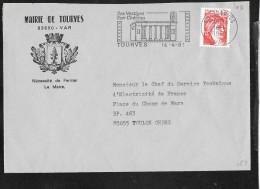 FLAMME 83  TOURVES - Marcophilie (Lettres)
