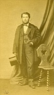 Homme Debout Mode Paris Second Empire Ancienne Pierre Petit CDV Photo Signe 1860 - Photos