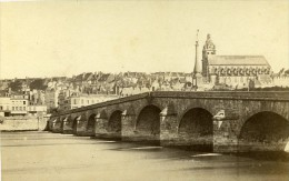 Bords De La Loire Pont Et Cathedrale 41000 Blois France Ancienne Photo CDV 1870 - Photographs