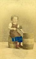 Les Jeux D Enfants Jeune Fille Berlin Allemagne Ancienne CDV Linde Photo Couleur 1870