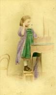 Les Jeux D Enfants Jeune Fille Berlin Allemagne Ancienne CDV Linde Photo Couleur 1870 - Photographs