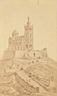 Marseille ND De La Garde Ancienne CDV Photo Dessin 1875 - Old (before 1900)