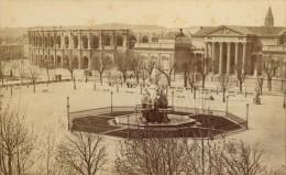 Nimes Esplanade Fontaine Pradier Gard France Ancienne CDV Photo 1875 - Old (before 1900)